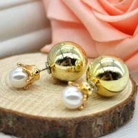 Elegant Crown Pearl Ear Studs EarringsFashion Jewelry Earrings for Women Gold Plated Ball Stud Earring earings Y55*SS0004#S7