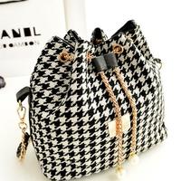 Women's Casual Chain Drawstring Bucket Bag National Bolsas Femininas Female Canvas Crossbody Messenger Handbag