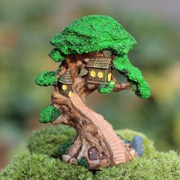 Продажа дух дерево дом high9cm миниатюры растения фея садовый гном мосс террариум домашнего декора ремесла бонсай домашнего декора для DIY