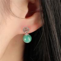 Oriental characteristics Women Accessories Earrings, 925 Sterling Silver with Jade Earrings, 7mm, SES0003
