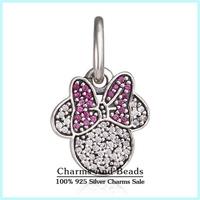 2015 New 925 Sterling Silver Pave CZ Sparkling Minnie Dangle Charms Fits Brand Bracelets Minnie Charm Pendants Er468