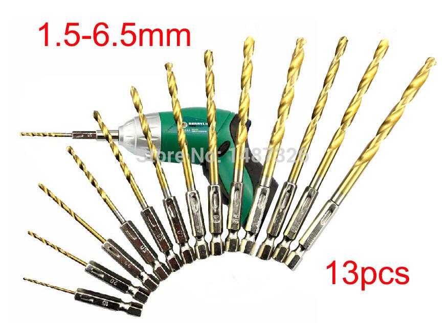 13PCS alta velocidade aço titânio revestido Drill Bit definido 1/4