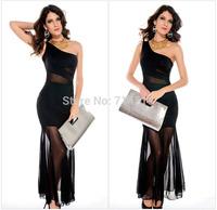 elegant mesh a-line oblique shoulder solid cute black chiffon dress collar swing long fishtail dress