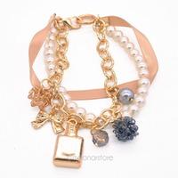 Gold Plated Bowknot Perfume Pearl Hand Chain Ribbon Charm Bracelet New Fashion 2015 Wrist Jewelry Women Bracelets Y55*SS0031#M5