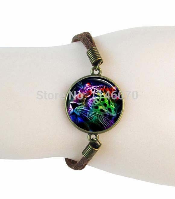 fashion jewelry tiger photo bracelet bangle the king of mountian animal leather bracelet pulseras mujer jewerly for men women(China (Mainland))