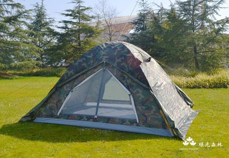 Genuine Camouflage camping expedition against storm tent camouflage tent Double doors aluminum pole(China (Mainland))