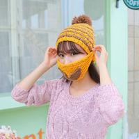Free Shipping New Hot 6 Colors Hot Women's Knit Crochet Beard Beanie Mustache Face Mask Ski Snow Warmer Hat Cap for Women