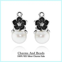 2015 New 925 Sterling Silver Flowers Drop Earrings With CZ Fashion Pendant Earrings With White Freshwater Pearl For Women SH0553