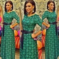 new women green dress soild color women casual simple and elegant dress