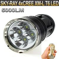 SKY RAY 5000 Lumens 4T6 4 x CREE XM-L XML T6 LED Flashlight Head Torch 18650 Lanterna Lantern Flash Light By 4*18650