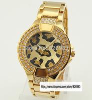 2015 New leopard Gold alloy steel watches Brand  Women men Watch Ladies diamond Jewelry bracelet watches Women dress watch