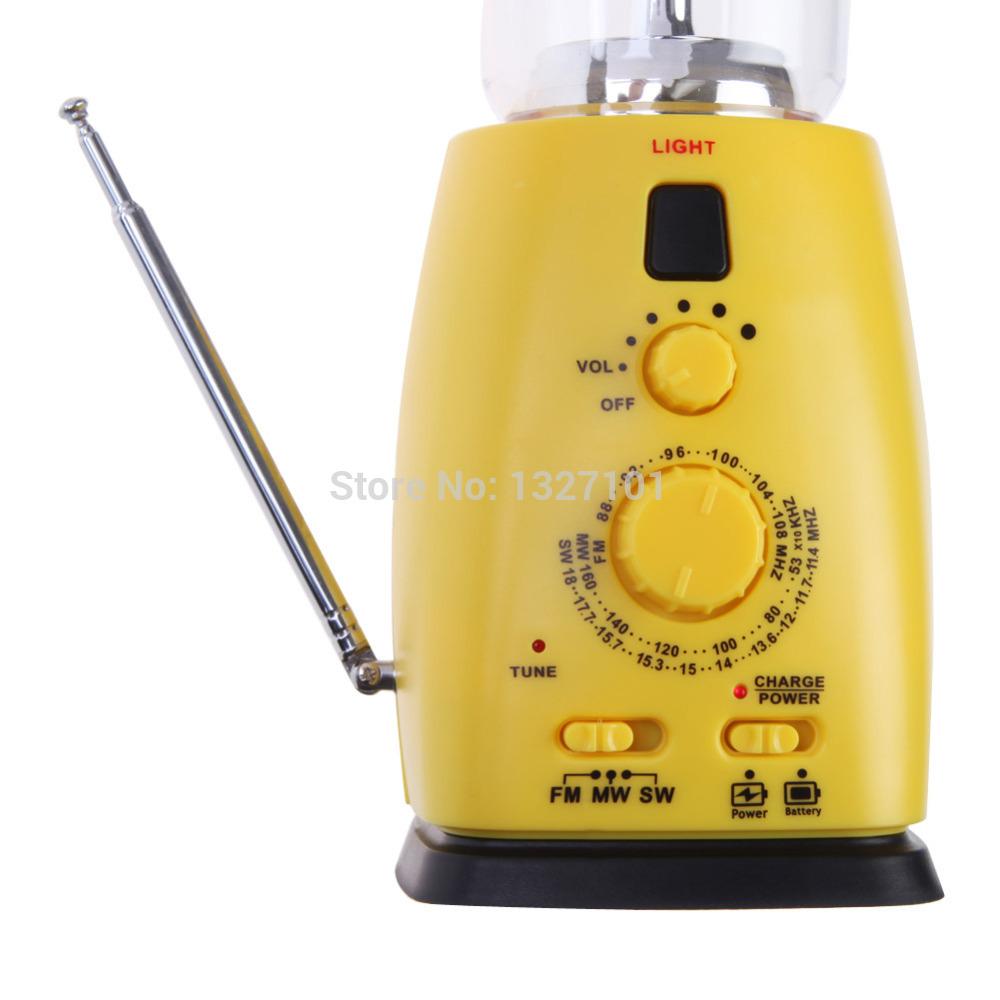 Solar Hand Crank 8 LED Camping Lantern With AM FM NOAA Weather Radio PTCT
