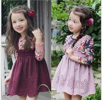 2015 Girls Spring Fake 2 Piece Dresses Princess Elegant Dazzel Cotton Dress, Kids Sweet Clothes  Wholesale,5 pcs/lot,