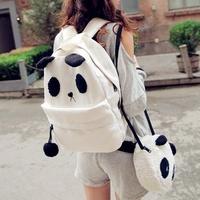 Korea Fashion Cute Women Girls Canvas Panda Bag Mochila Feminina Teenagers School Backpack + Small Shoulder Bag Set