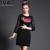 VA Brand High Quality Women Embroidery Lace Dress Three Quarter O Neck Spring Slim Black Mini Office Work Dresses P00152