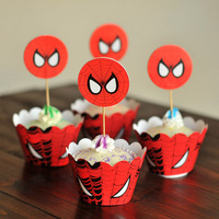 24pcs Spiderman baking cupcake wrappers & toppers picks decoration,kids/children birthday party favors supplies,cake accessories