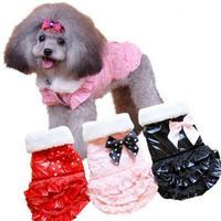 Dog Dresses Princess 2015 Newest Petticoat Lace Skirt Nylon Polka Dot Bowknot Small Dog Clothes Thicken Warm Winter Pet Vestidos