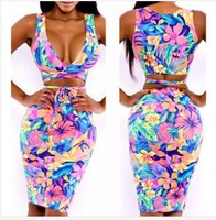2015 fashion Summer Sleeveless Mini Dress party women's cute dress Sexy Floral Print dresses,Block Stretchy Bow Bodycon dresses