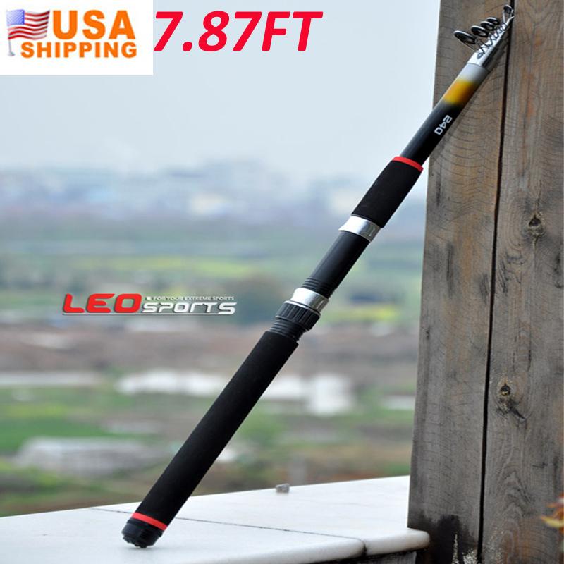 US Stock to USA 2.4M Portable Telescopic Fishing Rod Glass Fiber Carp Fishing Baitcasting Rods Pesca Fly Fishing Spinning Rod(China (Mainland))