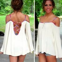 Europe America 2015 Summer Chiffon Long Sleeve Shirt Female Slack Neck Sexy Strapless Blouse White Red Camisa Feminina XF3013