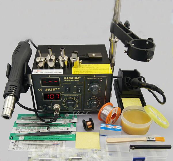 220V/110V Saike 852D++ Hot Air Rework Station soldering station BGA De-Soldering 2 in 1 with Supply air gun rack ,and many gifts()
