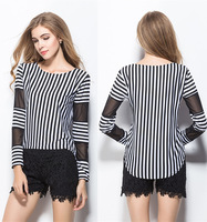 Free shipping   2015 new han edition cultivate one's morality stripe T-shirt with long sleeves Bertha big yards