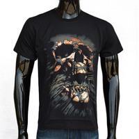 Sleeve Cotton T-Shirt mens t shirts fashion 2015 clothing O-Neck T Shirt Mens Short Horrific Skull Printed 3D
