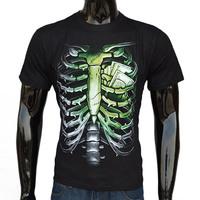 Printing 100% Cotton Good Quality 2015 new Men's Casual cool fashion 3D T-shirt Rib Bones Short Sleeves luminous