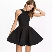 2015 New Fashion Sexy Women Dress Backless Sleeveless Halter Flare Dress Black White summer dress vestidos casual free shipping