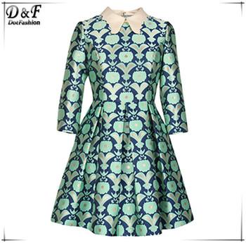 Регата женское 2015 последние дизайн одежды женщин весной зеленый нагрудные с длинным рукавом цветочный печать жаккардовые вспыхивают мини платье