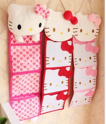 Kawaii Bowknot Hello Kitty Overlong Multifunctional Damask Wall Storage Bags,Bag Organizer 62*18CM(China (Mainland))