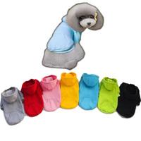 Dog Hoddies Costume Leisure Cotton Coat Pet Clothes With Pockets Solid 100% Cotton Fleece Pets Supplies 7 Color Dog Cat Sweater