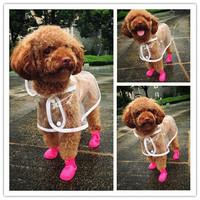 Transparency Dog Raincoat With Extra D Ring Hole Newest Small Pet Dog Waterproof Raincoat Transparent EVA Teddy Pet Dog Poncho