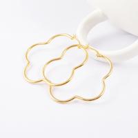 Free Shipping 2015 Beautiful Lovely Flower Hoop Earrings Rose Gold/ Silver/ Gold Titanium Stainless Steel Earrings for Women