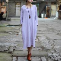 Vestidos 2015 Spring Casual Dress O-neck Solid Long Sleeve Loose Waist Cotton Dress Long Autumn Loose Women Dresses 0117