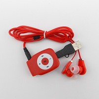 Popular style clip MP3 Music Media Player /mp3 player With Micro TF/SD card Slot with usb cable +headphones.5 Colors.