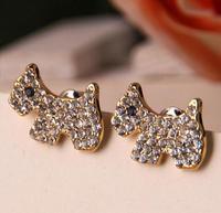 Lovely dog 18K Real Gold Plated Austria Crystal Earrings Czech rhinestone fashion   earrings E00195B-C24682B10