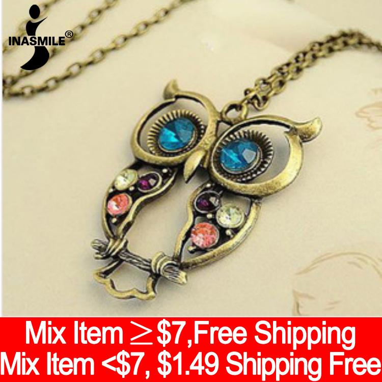 2015 New Fashion vintage Colorful Cute OWL pendant necklace Hollow Out pendants Set Auger alloy necklace