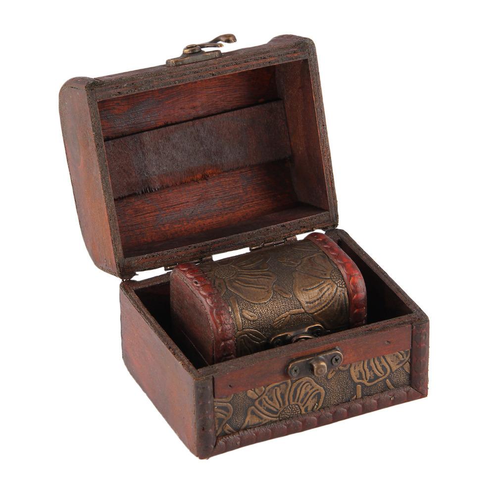 Antique Wooden Embossed Big Flower Pattern Jewelry Box Storage Organizer Pack of 2(China (Mainland))