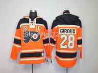 Cheap Philadelphia Flyers hoody 28 Giroux Orange men's Ice Hockey Hooded Sweatershirts