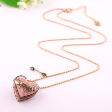 Heart Love Necklace Colar Longo Joyas Collares Fashion Women Cheap Chinese Costume Jewellery Long Chain Openable Box Pendant