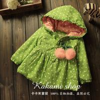 Girls spring new Hoodie Baby warm jacket Green dot bow princess coat