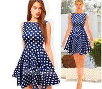 2015 new fashion dresses o-neck sleeveless dot women casual dress