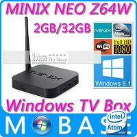 MINIX NEO Z64 Series Z64W Windows 8.1 with Bing TV Box Intel Atom Z3735F 64bit Quad Core CPU 2G/32G XBMC 1080P Smart TV Receiver