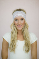 5pcs/lot Stretchy  Wide Lace Headband White Sheer Lace Headband with Tapered Cut and Scalloped Edge Headwraps Accessory