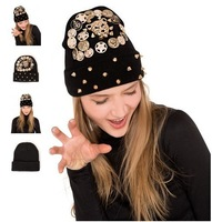 Women Beanie hat wool winter warm knitted caps men  hats for punk Skull cool Beanies Z4075