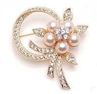 Elegant Pearl bow high-grade lovely  crystal brooch fashion jewelry N50D D25219B3