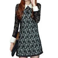 2015 Fashion Women Elegant Lapel Lace Crochet Dress Long Sleeve BLACK Slim Mini Dress Party Dresses SIZE FREE  Drop Shipping