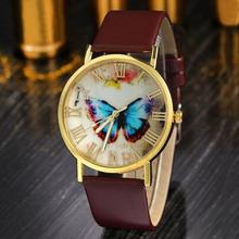 Watch Womens Girl Butterfly Pattern PU Leather Strap Analog Quartz Wrist Casual Watch Wristwatches