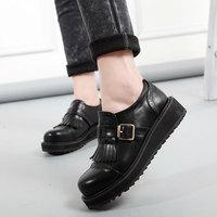 A52 Hot school style students shoes brogue round toe british style casual flat platform girls shoes,women flat platform flats